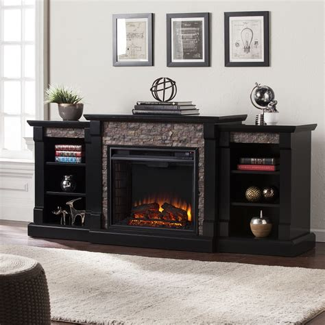 """71.75"""" Gallatin Faux Stone Electric Fireplace w/ Bookcases"""