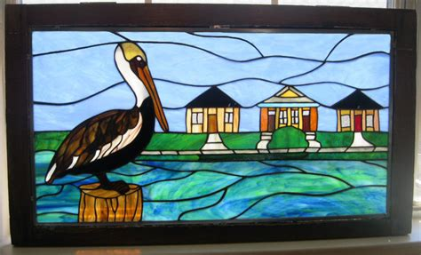 pelican pattern trading pelican stained glass window panel