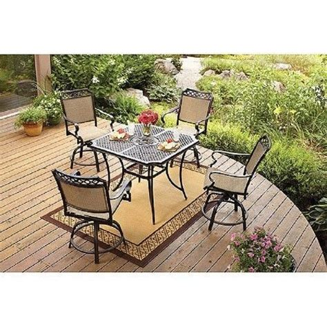 High Table Patio Set 5 High Patio Dining Set Outdoor Living Balcony Bar Height Table Top Chairs Outdoor