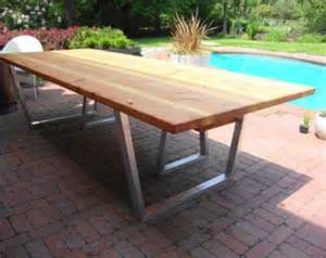modern outdoor dining table and bench cedar amp hand brushed