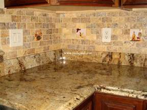 Kitchen Backsplash Tile accent tiles inserted into 2 quot x 4 quot yellow travertine mosaic tiles