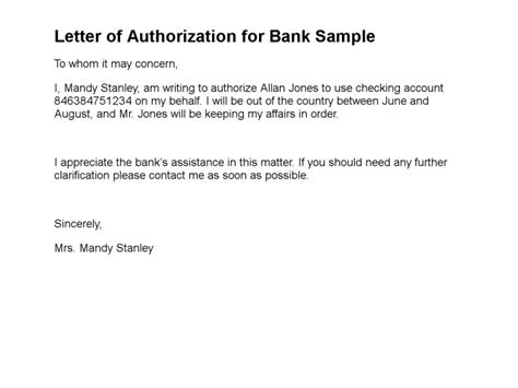 authorization letter for bank verification letter of authorization sle letter of authorization