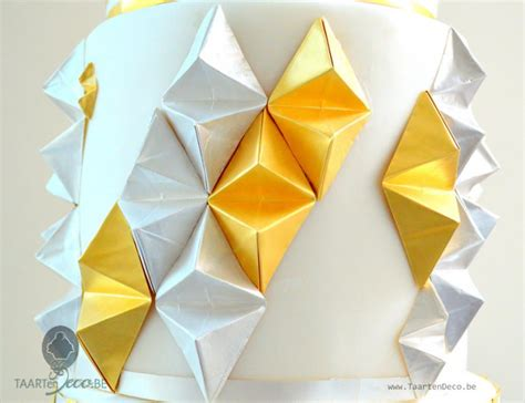 gold origami cake with origami gold and silver cakecentral