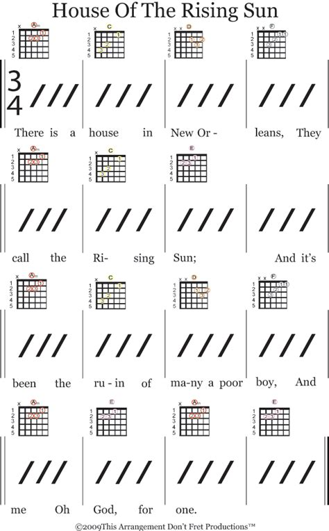 strumming pattern house of the rising sun color coded sheet music of house of the rising sun for