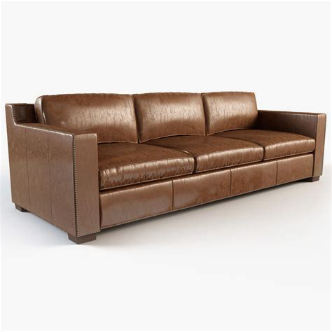 restoration hardware collins leather sofa with nailheads