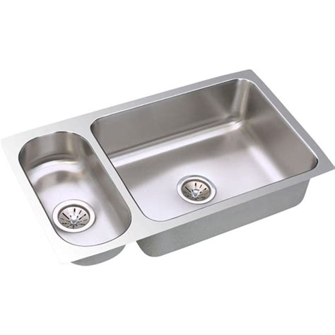 Bowl Undermount Stainless Steel Kitchen Sink by Elkay Lustertone Undermount Stainless Steel 32 In