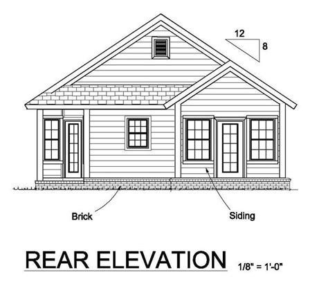 bungalow floor plan with elevation house plan 61451 at familyhomeplans com