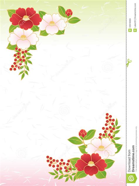 new year greeting in japanese camellia season s greetings royalty free stock images