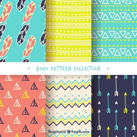 svg pattern editor assortment of colored boho patterns vector free download