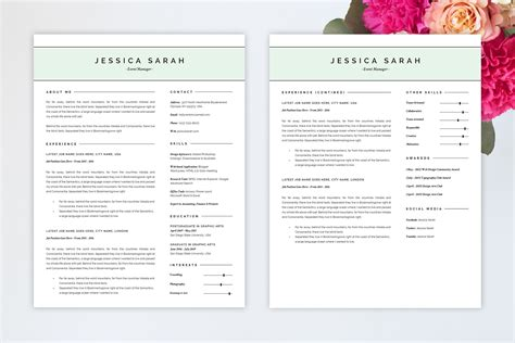 Pretty Resume Templates by Pretty Resume Template Y