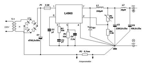 Kr04426 L200c Adjustable Voltage And Current Regulator simple variable power supply using l4960 power supply circuits
