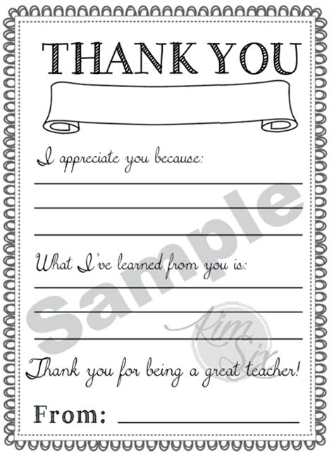 Thank You Letter For Teachers Day Appreciation Day Printable Thank You Notes The Six Fix