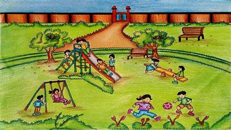 park drawing   draw  park scene  childrens play