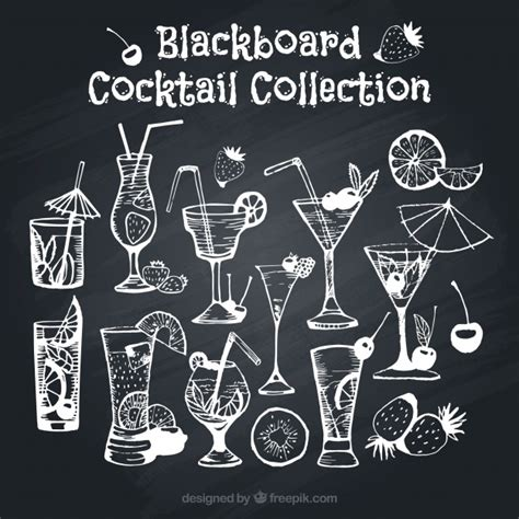 cocktail effect assortment of cocktails on blackboard effect vector free