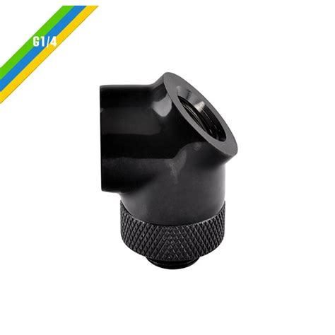 Thermaltake Pacific G14 Y Adapter Black thermaltake pacific g1 4 45 degree adapter fitting