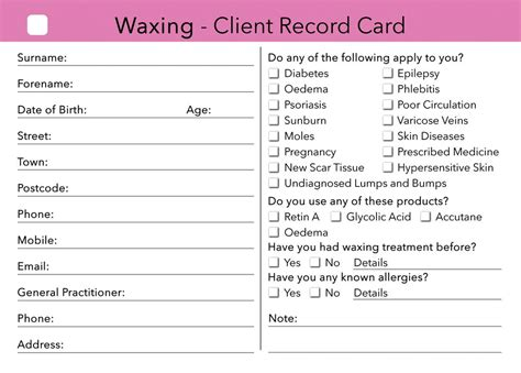 free nail technician client record card template waxing client card client record card treatment