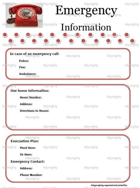 emergency information template emergency information contacts list printable pdf by