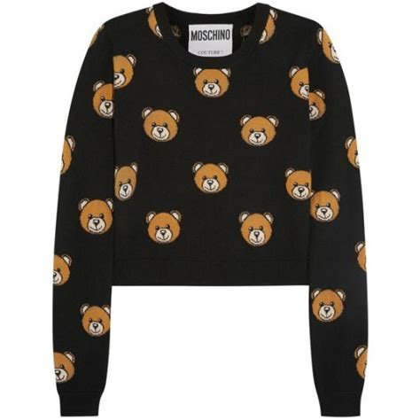 Moschino Teddy Sweater moschino cropped intarsia wool sweater clothes tops sweaters black animals bears