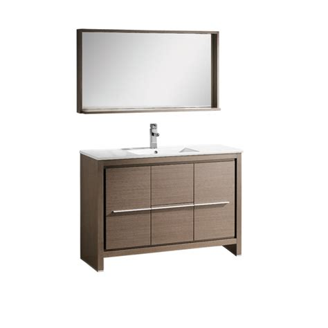bathroom mirror and matching cabinet 47 5 inch single sink bathroom vanity in gray oak with