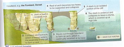 caves arches stacks and stumps diagram onlinegeography c landforms of coastal erosion