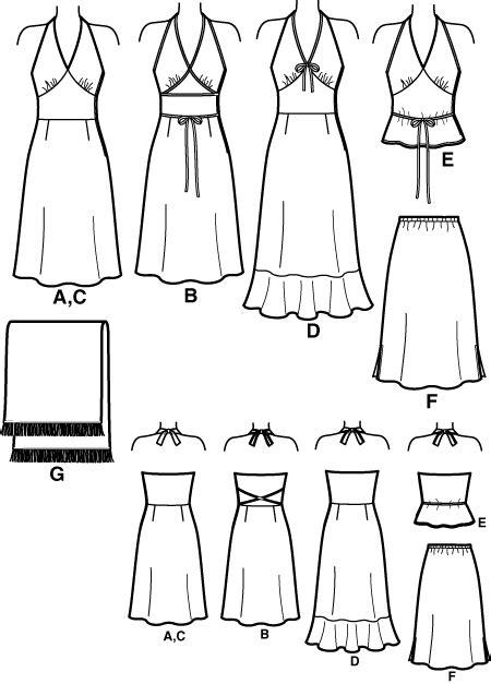 pattern drafting halter top new look 6242oop misses halter dress or top and skirt