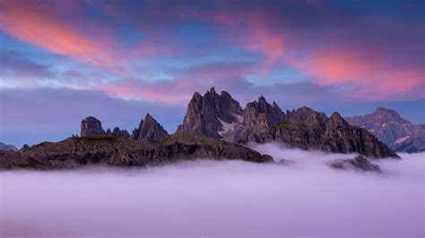 fog  sunset  dolomite mountains  italy hd