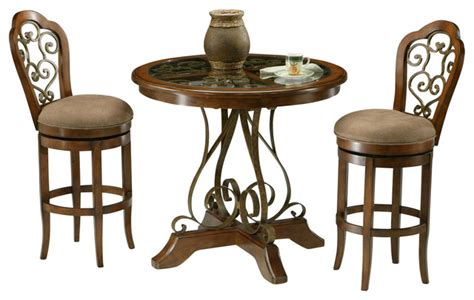 Round Dining Room Tables With Leaf by Pastel Carmel 3 Piece Round Wood Pub Set Traditional