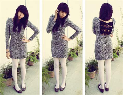 Dress Yunita yunita elisabeth leopard dress white tights flat shoes