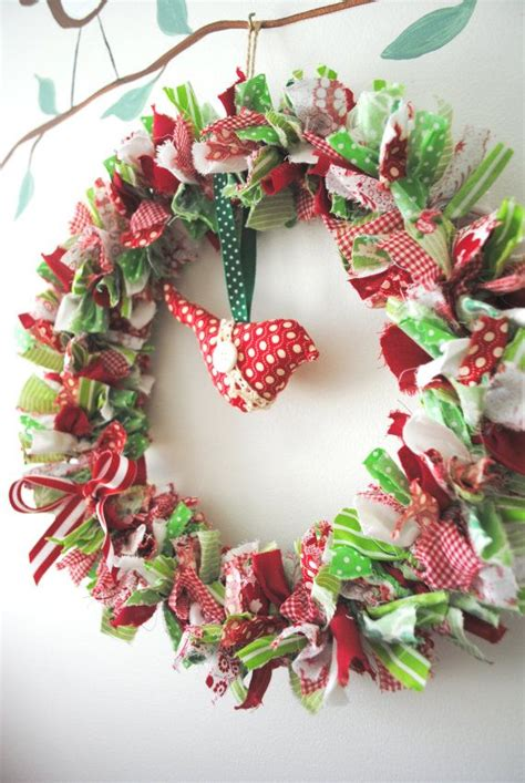 christmas handmade fabric wreath could make this myself