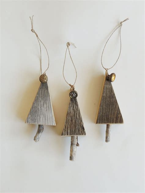 rustic tree ornaments 3 wood trees natural christmas rustic