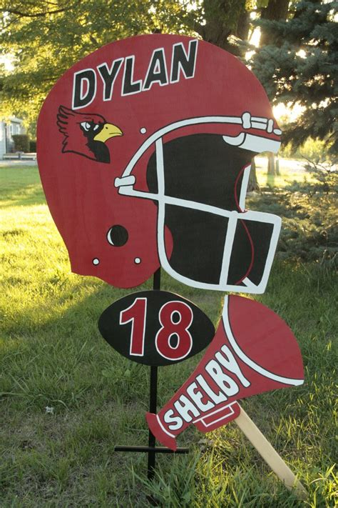 Football And Cheer Signladybiz On Etsy Com Personalized Sports Yard Signs Pinterest Football Yard Sign Template