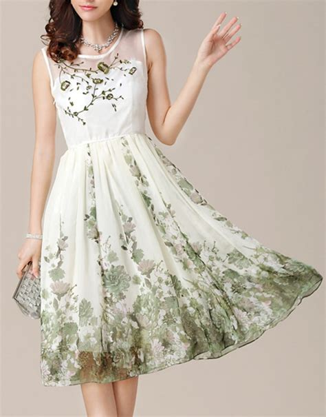 Flowers Embroidery Dress green flower embroidery floral print dress abaday
