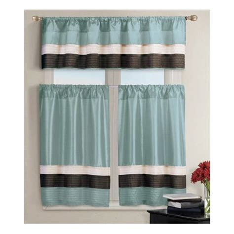 Teal And Brown Window Valance Pintucked Kitchen Window Curtain Set 2 Tier Panel Curtain