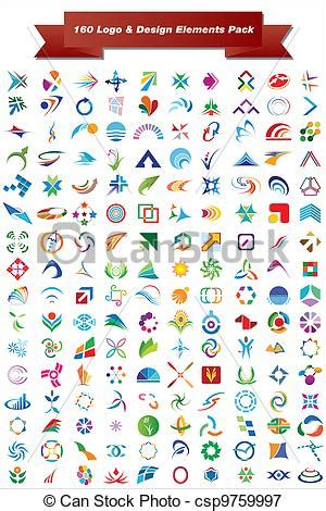 design elements vector pack vectors illustration of 160 logo design elements pack