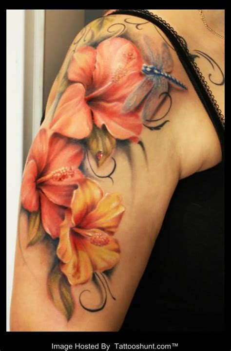 lily shoulder tattoo designs colored 3d flowers on right shoulder