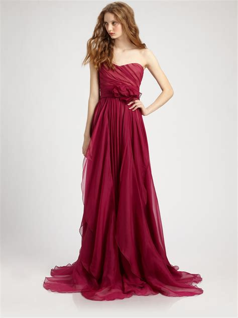 Marchesa Silk Chiffon Gown by Notte By Marchesa Silk Chiffon Strapless Empire Waist Gown