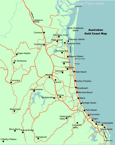 map of coast gold coast map australia