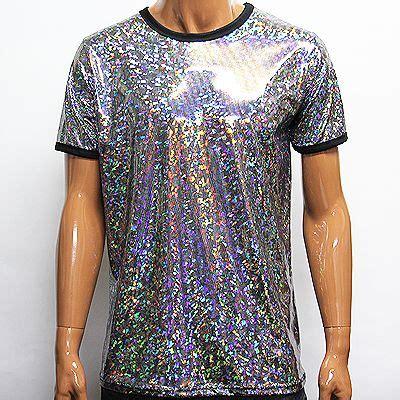 Sleeve Glitter T Shirt mens rainbow shiny glitter sleeve t shirts size m