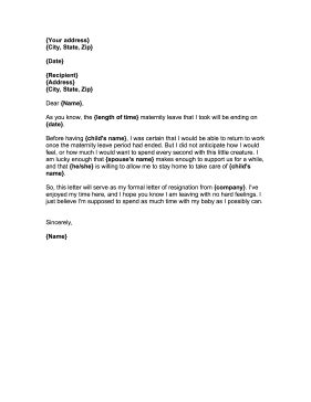 Maternity Leave Notification Letter Template by Resignation Letter After Maternity Leave