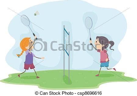 Small Cabin Plans clip art vector of badminton girls illustration of girls