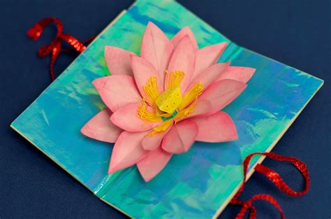 lotus flower pop up card template s day lotus flower pop up card creative pop up cards