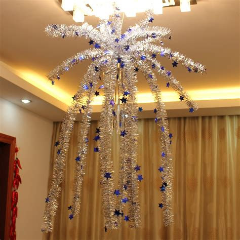 decorating a ceiling for christmas indoor hanging garland decorate falling flowers furred ceiling nacelle with snowy