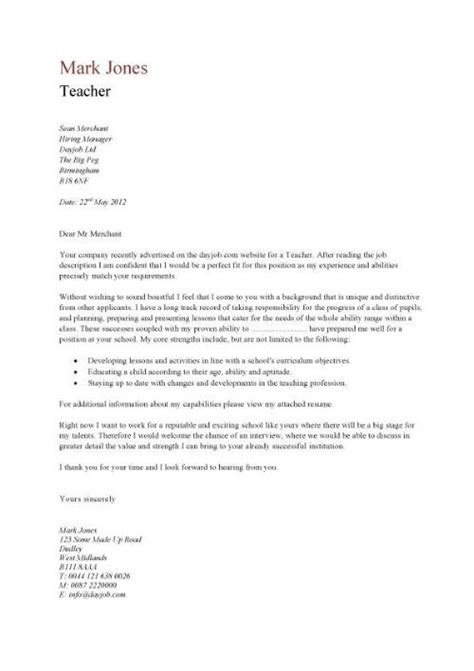 writing a covering letter teaching covering letter exle