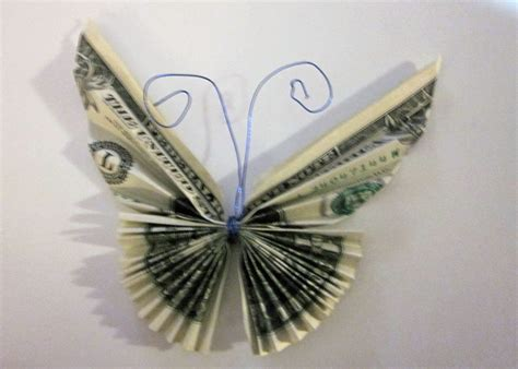 Origami Dollar Butterfly - money bouquet crafting with t rex