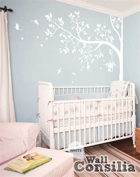 white tree wall sticker white tree wall decal with leaves and birds