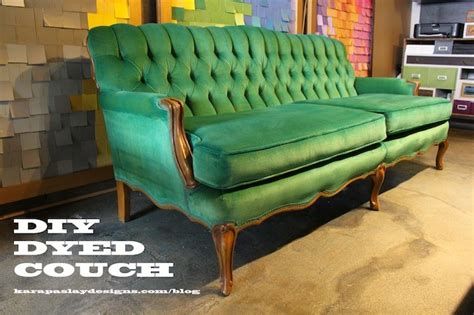 dyeing upholstery diy dyed couch apple to emerald kara paslay design