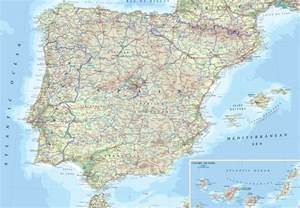 detailed physical map of spain spain detailed physical