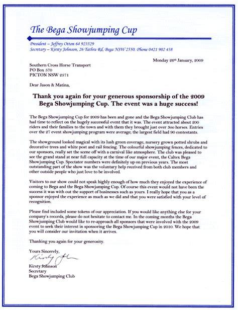 Sponsorship Letter Equestrian sponsorship letter free resume sles