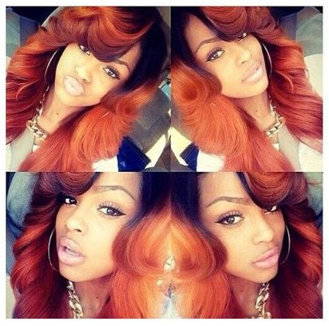 photos of brazilian hair extention dyed hair styles orange caramel brown dyed sew in weave hairstyle urban