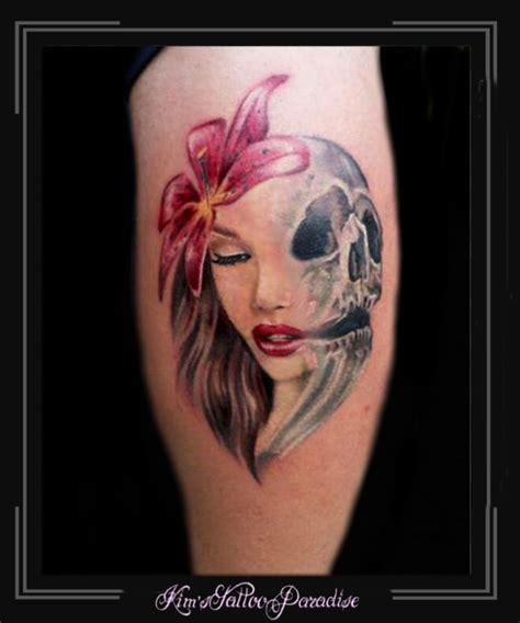 tattoo arm vrouw skull kim s tattoo paradise